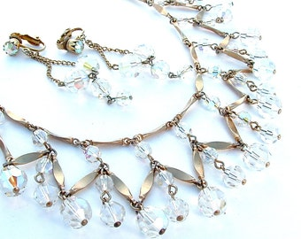Vintage Bridal Jewelry Cleopatra Crystal Collar Statement Necklace Jewelry Set Princess Jewellery 16 Inches With Extender