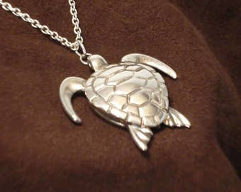 "Sea Turtle Pendant - Sterling Silver Pendant on 18"" Sterling Silver Chain - Item: ST"