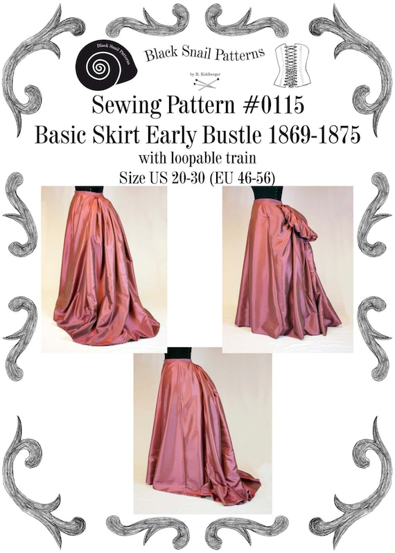 Victorian Basic Skirt for Early Bustle with loopable train