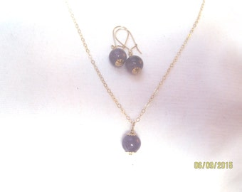 Amethyst and 14 karat gold filled necklace and earring set