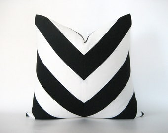 Pillow Cover Mitered Chevron Black White Stripes Indoor Outdoor
