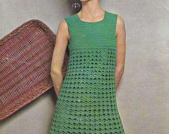 Womens crochet dress vintage crochet pattern pdf INSTANT download pattern only pdf adjustable length