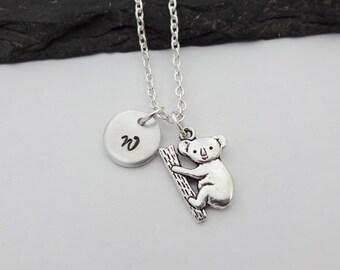 Koala Necklace, Initial Koala Necklace, Charm Necklace, Koala Jewellery, Koala Gift, Koala Jewelry,Koala Gifts,Initial Necklace,Hand Stamped