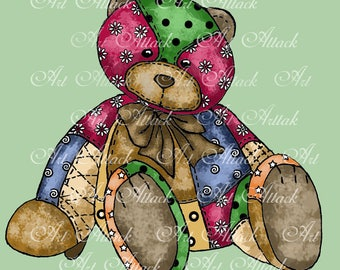 Quilted Cutie Bear Digital Stamp