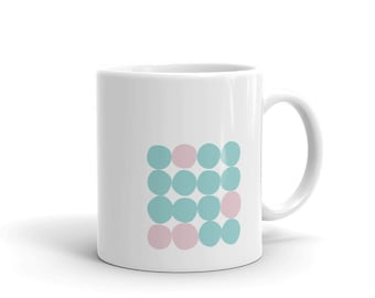 mint and green, circle design, modern mug, modern cup