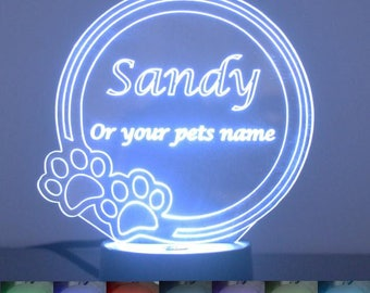 Personalized Paw Print Circle Colour Changing LED Acrylic Light