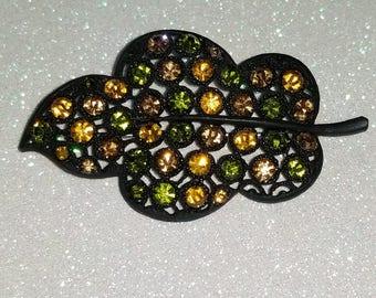 Vintage Black Leaf Rhinestone Orange and green pin Brooch