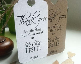 Thank You For Sharing Our First Meal Personalised Wedding Card Napkin Tie Tags - Contemporary Plain Sm H
