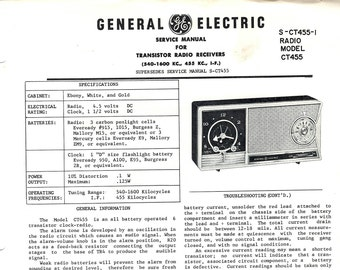 General Electric Vintage Radio Service Manual Clock Radio Receiver Model CT 455 1961 Mid Century Modern Download PDF Excellent Condition