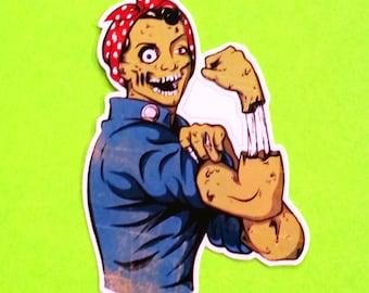 Rosie Riveter Zombie Corpse War Effort Iconic Figure Ghoul Halloween Monster Pink Skull Waterproof Vinyl Sticker