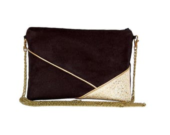 Wedding clutch evening bag black leather and suede look and glitter graphic lines Golden - after a beach bag