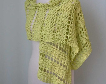 SALE, HALF PRICE,  Crochet shawl, scarf, lime green, lace, cotton,  G722