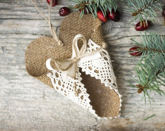 Burlap Ornament, Christmas Heart, Holiday Home Decor, Burlap Ornament, Christmas Gift