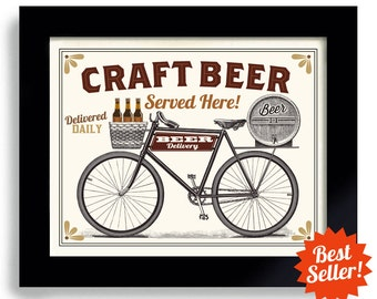 Craft Beer Gift, Bicycle Art, Beer Art, Bike Art, Beer Sign, Cycling Art, Beer Gift, Bike Rider, Bar Decor, Home Brewing