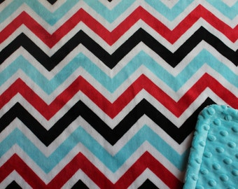 Minky Blanket Red, Turquoise, Black and White Chevron Print Minky with Turquoise Dimple Dot Minky Backing - Perfect Size for baby, stroller