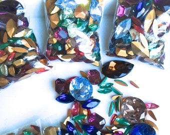 FOUR DOLLAR FINDS- Vintage Mix of multi colored Czech Glass Jewel Stones-Varied Shapes and Sizes for Jewelry, Collage,Kids Craft, Mosaic,Art
