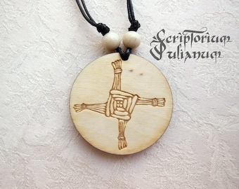 Wooden Brigid's Cross pendant, Brigid's cross necklace, Wicca, Imbolc, pagan jewelry, Celtic jewelry, Irish jewelry, heathen, Beltane gift