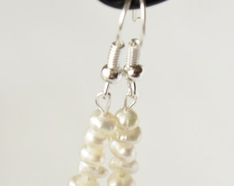 ivory white freshwater tiny nugget pearls silver fish hook earrings