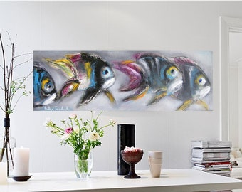 Abstract art Fish painting Turquoise lilac gray seascape underwater tropical fish wall art, giclee canvas print or paper children room decor