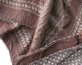 Brown throw boho blanket, polka dot Mocha chocolate Throw block printed reversible bedcover bohemian shabby chic boholuxe Throw - Sahara