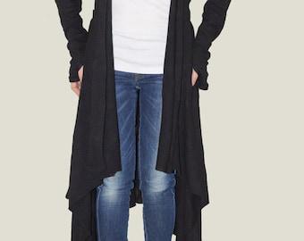 Black Loose Asymetrical Cardigan Spring Coat/Wool Poncho/Long Sleeve Trench Coat/Hight Quality Vest/Sport Elegant Vest/ F1016