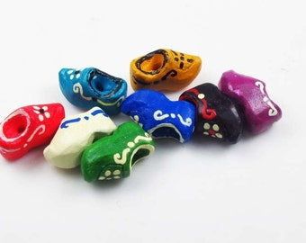 10 Tiny Clog Beads - Mixed - CB781
