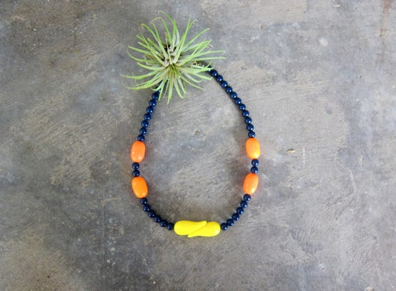 Vintage Bright Orange Necklace Blue Yellow Beaded Plastic Choker Retro Mod Necklace Bold Beads Costume Jewelry Hipster Womens