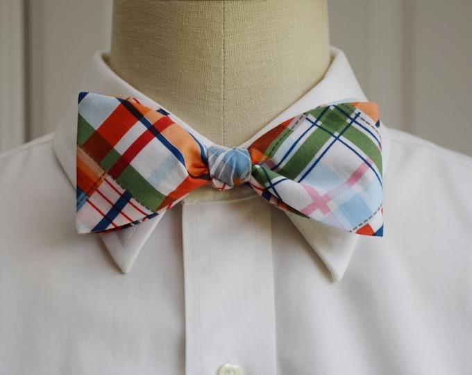 Men's Bow Tie, multi color Madras plaid, preppy bow tie, wedding bow tie, groom bow tie, casual bow tie, plaid bow tie, bright plaid bow tie
