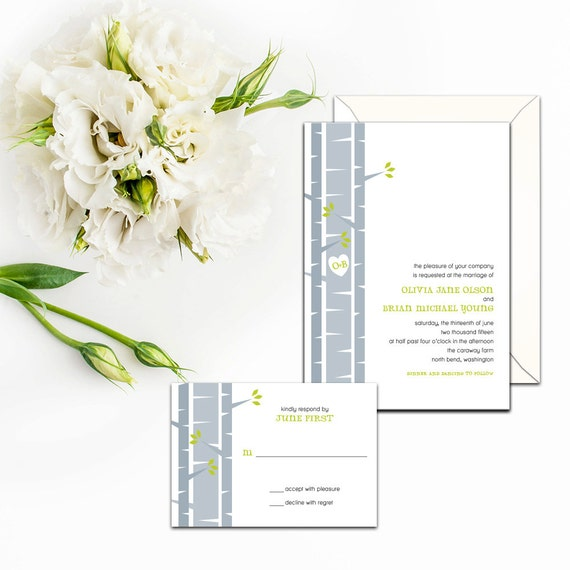Birch Tree Wedding Invitation Set, Custom Birch Tree Invitation, Wedding response cards, Event Invitations, Unique Outdoor Invitations