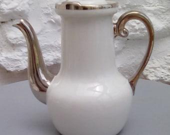 Vintage Limoges tea or coffee pot. 1930s Alumite Frugier.