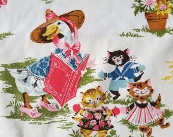 One Yard Vintage Fabric House N Home Nursery Decor Nursery Rhymes Mother Goose