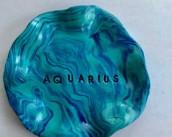 Trinket dish miniature hand sculpted ring bowls shades of blues and greens Zodiac Sign Aquarius