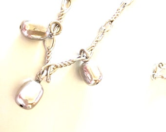 Vintage Designer Silver Twisted Chain with Sterling Silver Nuggets Necklace