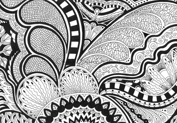 Original abstract black white drawing