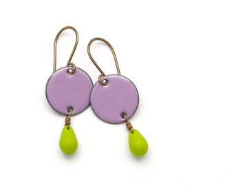 Amethyst Purple Earrings with Chartreuse Green Glass Teardrops - Enamel on Copper Jewelry - Gift for Women