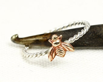 Bee Ring, Sterling Silver, Stacking Ring, Solid Silver and Brass, Silver Twist Ring