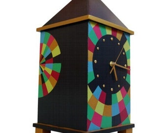 NO TICKING Wood clock, Hand pained Big clock, Decorative Table clock, Huge 17 Inch height, Silent desk clock, Unique wedding gift for couple