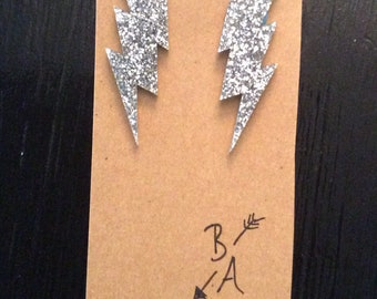 Glitter lightning stud earrings