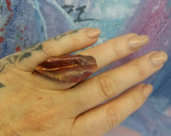 Copper Leaf Quirky Mixed Metal Art Ring Handmade One of a Kind by Sujati