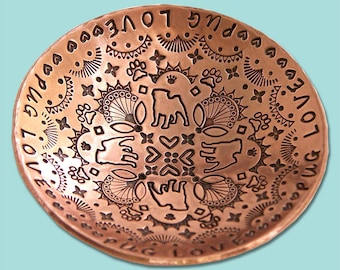 PUG LOVE Hand Stamped Copper Ring Dish