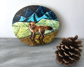 Fox art, blue ridge mountains, Rustic cabin decor, Housewarming, shellieartist, wall decor, gift for him, Mounted Print, round wood slice