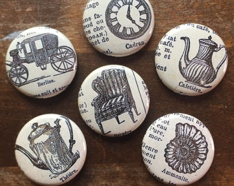 French Dictionary Pinback Buttons set of six
