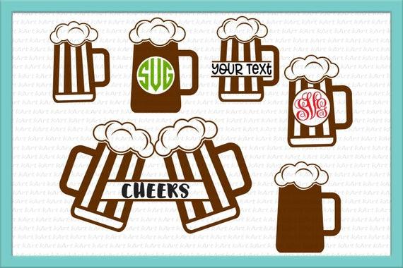 Beer Mugs Svg Beer Mug Monogram Svg Cheers Beer Svg Beer