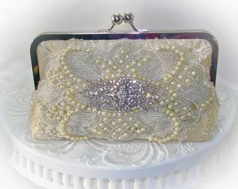 Bridal Clutch / Prom Clutch / Romantic Wedding / Pearl Wedding Clutch /1920's Wedding / Glam Wedding / Gatsby Wedding