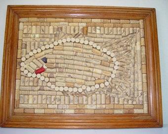 Cork mosaic Just Keep Swimming