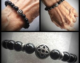 Black Onyx Stretch Celtic Bracelet Outlander inspired JAMMF