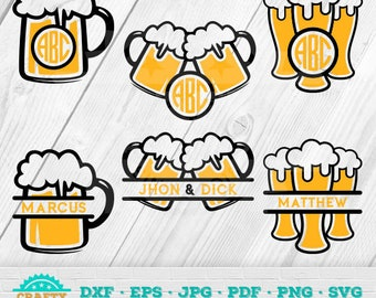 Beer SVG,Beer Mugs Svg,Cheer Monogram, Beer Time, Relax Time,  Instant Download 11