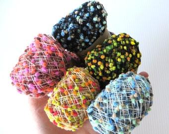 Mini PomPom Yarn / Habu Yarn / Knitting / Crochet / Weave / Craft Trim / Craft Edging / Novelty Yarn / Decorative Trim / 14gm / N111