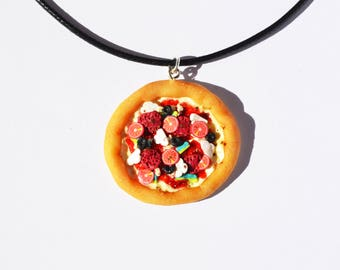Polymer clay Pizza pendant necklace