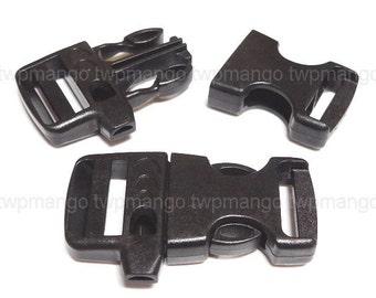 "5pcs 3/4"" Whistle Buckles Side Release Buckles Black Webbing Straps Paracord Bracelet H85-5"